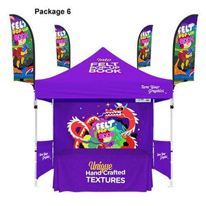 Custom Printed 10x10 Tent With Walls + Table Cover + 4 Flag Banners Bundle