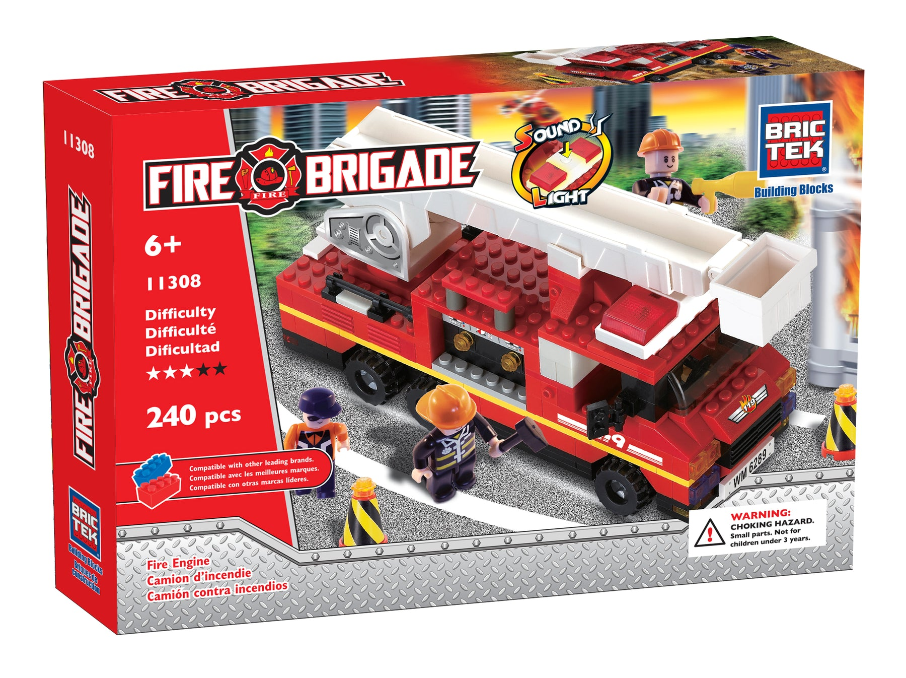 Brictek blocks Fire Brigade  - Fire truck with sound and light