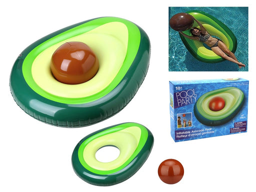 Inflatable half-avocado float with it's ball