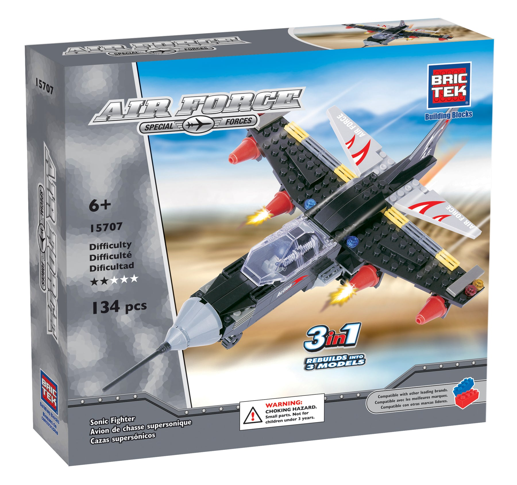Brictek Blocks Air Force 3 in 1 Pack set - Supersonic Airplane
