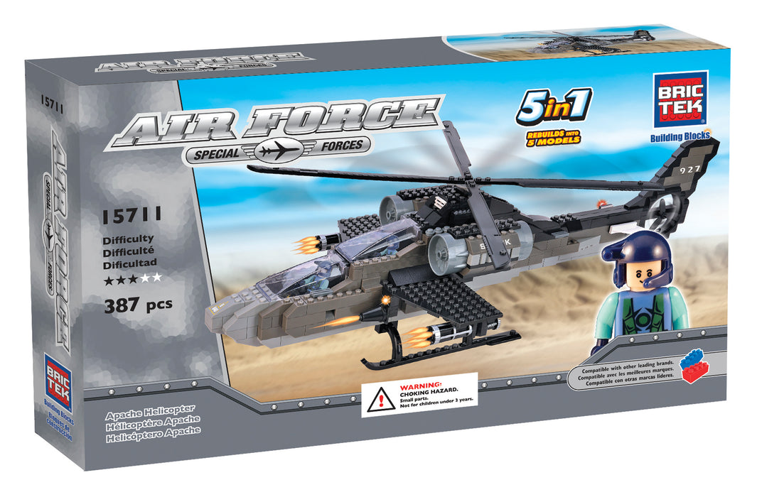 Brictek blocks Air Force 5 in 1 Pack Set - Apache Helicopter