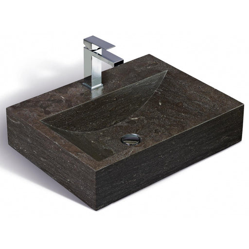 "Classic black limestone washbasin, 24 ""wide"
