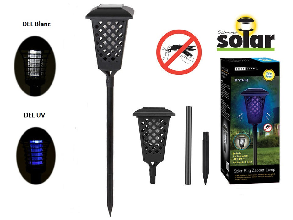 LED and UV solar mood lamp to kill mosquitoes