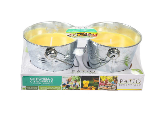 Citronella candle, pack of 2 metal bucket