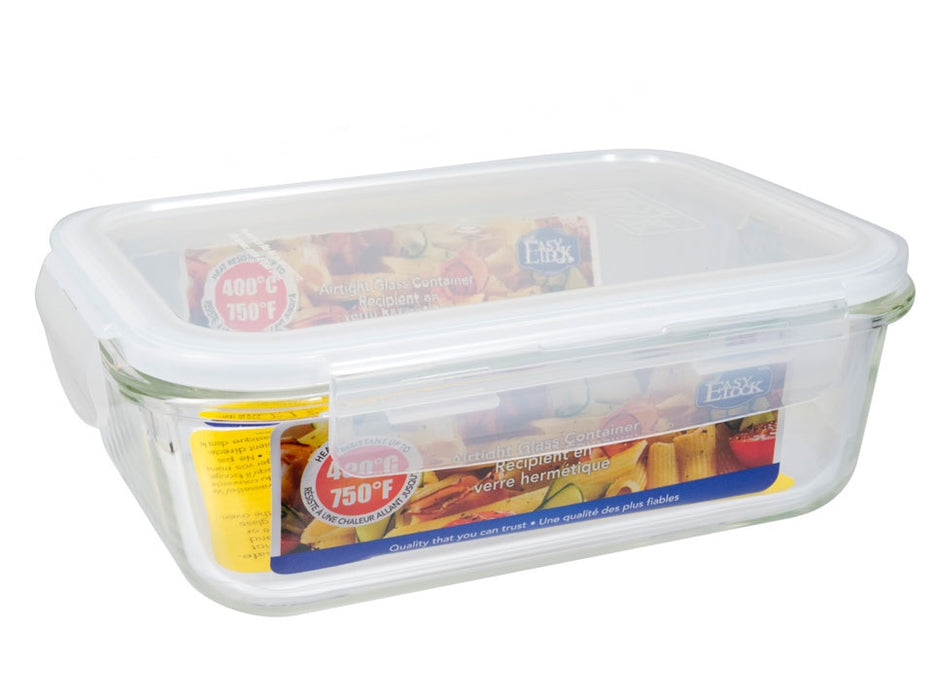 "Glass food container with ""Easy Lock"" lid"