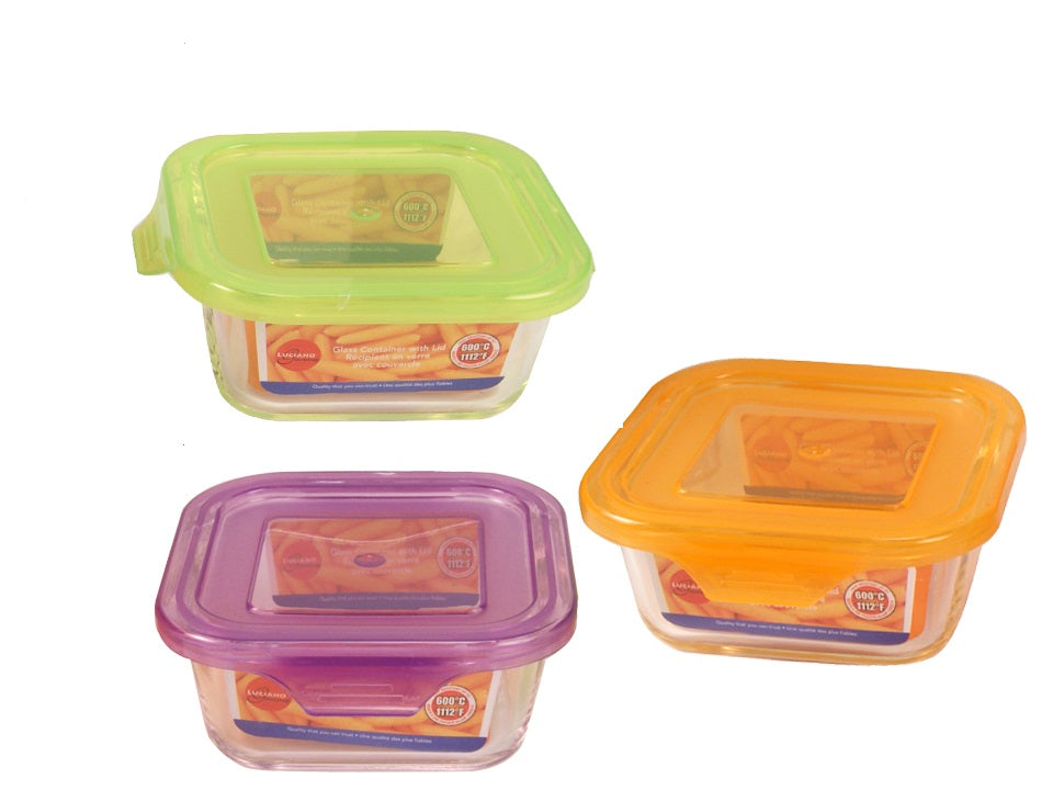 "Set of 3 food container ""Luciano Gourmet"" glass with a colored lid"