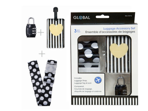"""Black and White"" 3 pieces set for luggage;  tag, strap and padlock"