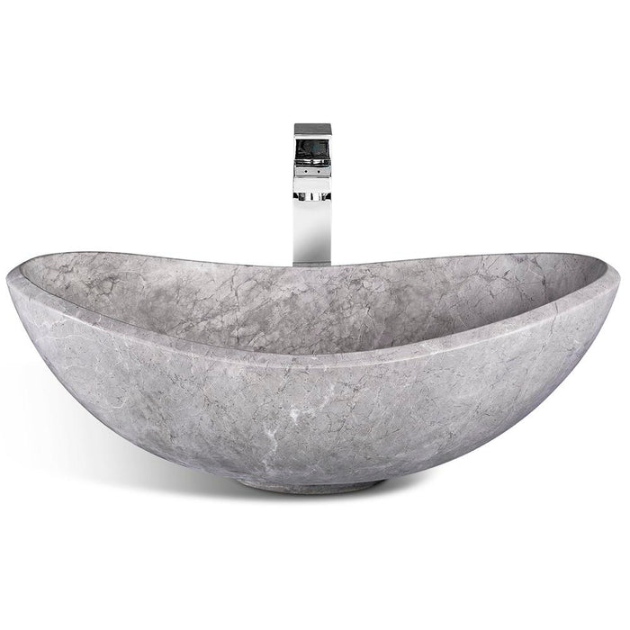 "Vasque en marbre naturel gris, 22"" de largeur"