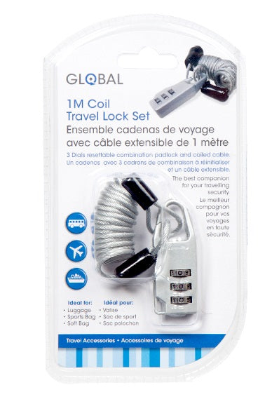"""Global"" travel padlock set with extendable cable 1M"