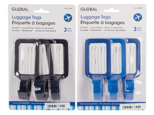 Set of 3 Luggage Tags - Blue or Black