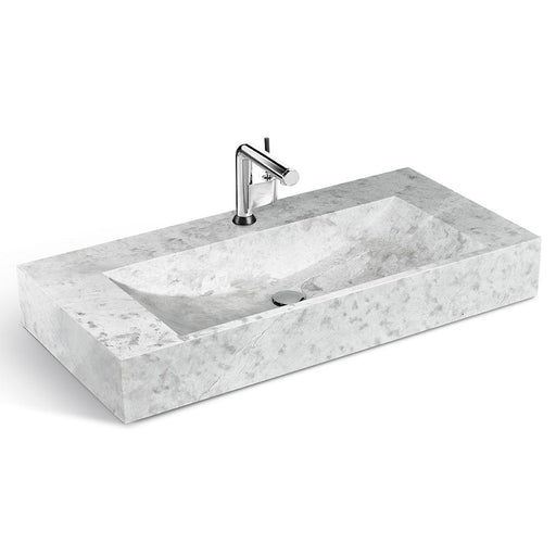 "Classic Gray Natural Marble Washbasin, 39 ""Width"
