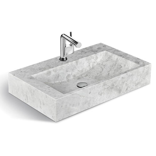 "Classic Gray Natural Marble Washbasin, 30 ""Width"