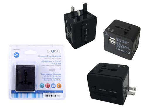 """Global"" universal travel adapter with two USB charging plugs"