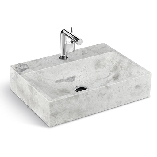 "Classic Gray Natural Marble Washbasin, 24 ""Width"