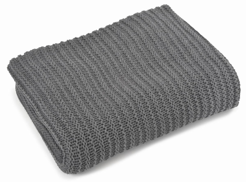 Throw cotton, 100% natural fibers, charcoal