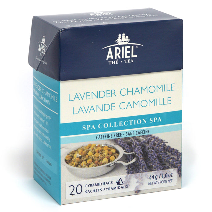 SPA Lavender Chamomile herbal tea in biodegradable pyramidal bag