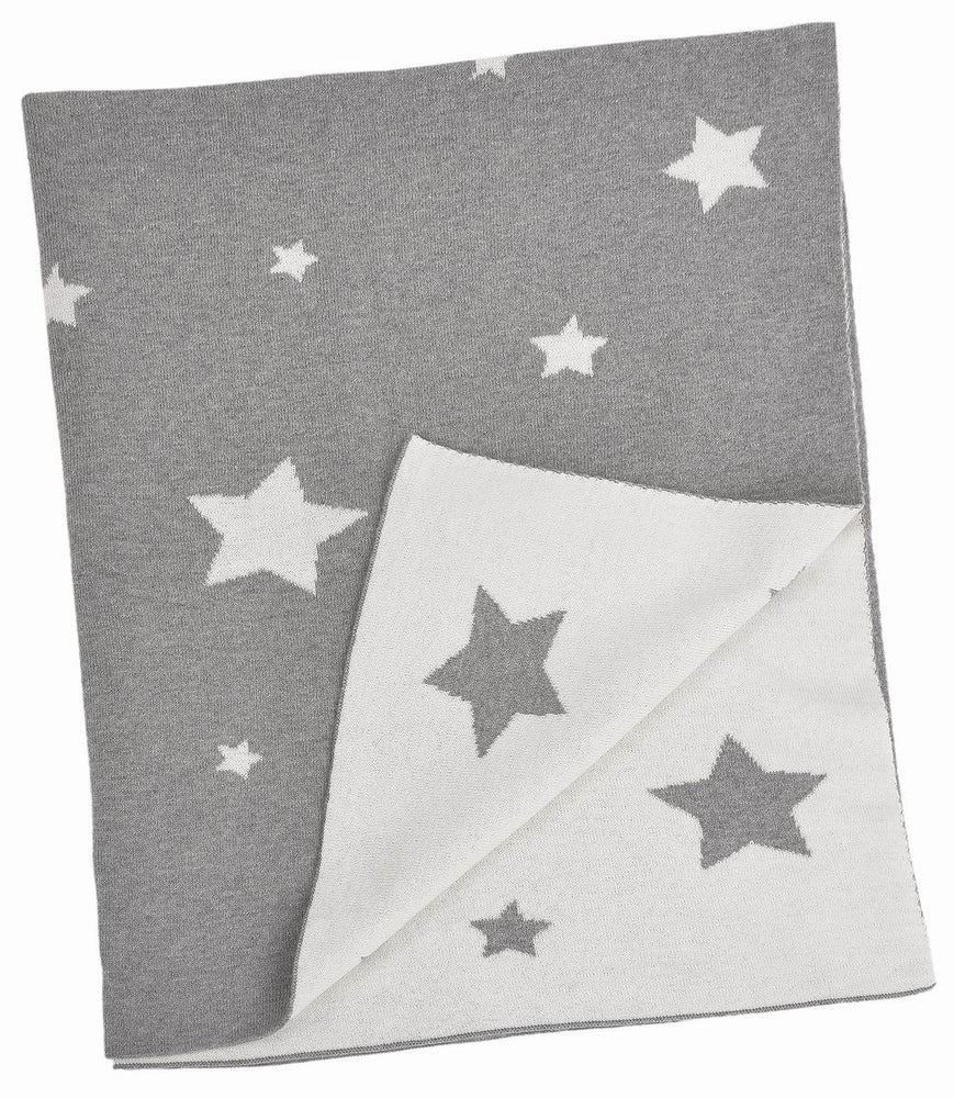 Child's blanket in natural cotton, Multi Star, gray