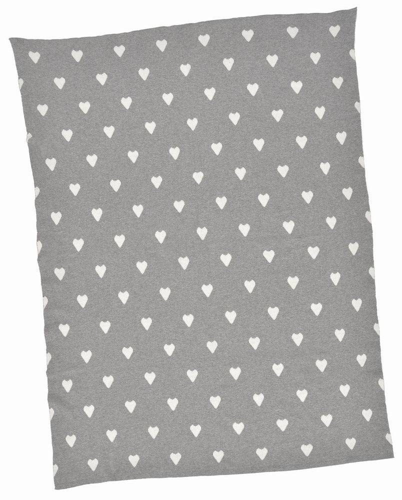 Blanket for children in natural cotton, gray and white