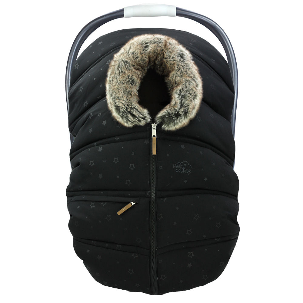 "Winter protective cover for baby car seat ""Petit Coulou"" - Black Star with collar imitation fur of Wolf"