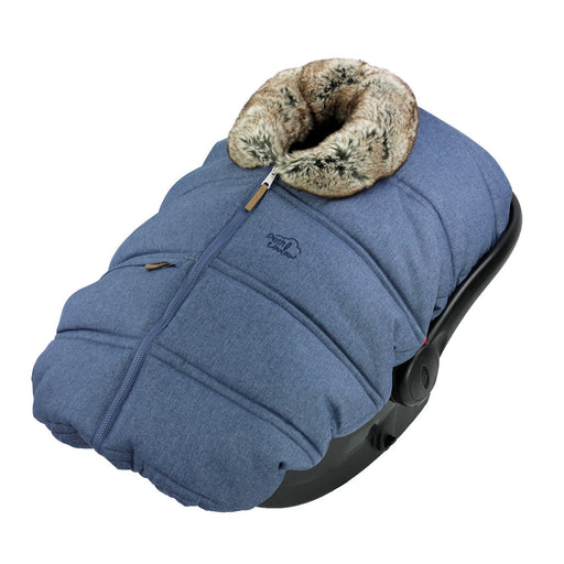 "Winter protective cover for baby car seat ""Petit Coulou"" - Jeans with collar imitation fur of Wolf"