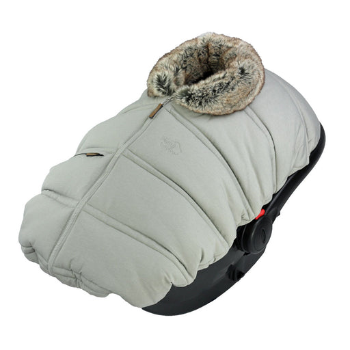 "Winter protective cover for baby car seat ""Petit Coulou"" - Greige with imitation fur collar wolf"