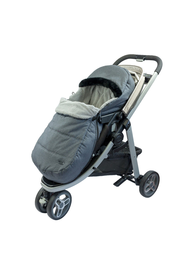 """Petit Coulou"" Stroller and sleigh 3 seasons Cover - Gray with Black Faux Fur Collar"