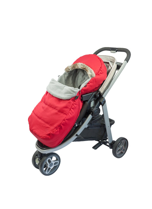"""Petit Coulou"" Stroller and sleigh 3 seasons Cover - Red with wolf faux fur collar"