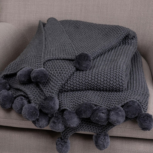 PERITO throw with pompons - Charcoal