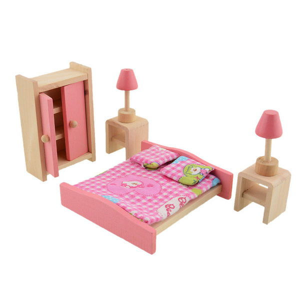Wooden Doll Bathroom Furniture Bunk Bed House Miniature Children Dolls Doll House Accessories for Kids Play