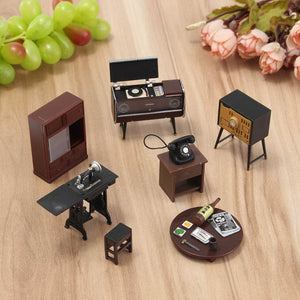 7pcs/set Wooden Dollhouse Furniture
