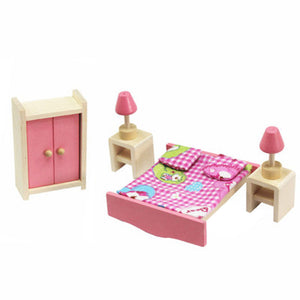 Wooden Miniature Dollhouse Furniture Toys Set Bedroom Kitchen Dinner Room Bathroom Living Room Pretend Play Toy High Quality