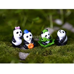 Pack of 4 Miniature Dollhouse Bonsai Craft Garden Resin Landscape Unhappy Pandas