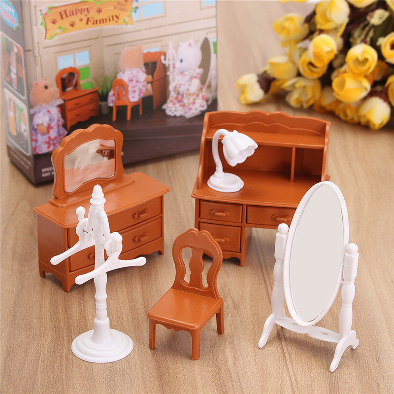 New Vintage Miniature Dollhouse Bedroom Furniture Set Dresser Desk Mirror Furniture Toys Set for Kids Christmas Gift Accessories