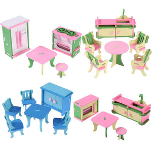 Simulation Miniature Wooden Furniture for Dolls DollHouse Wood Furniture Set Dolls Baby Room For Kids Play Toy Furniture Doll