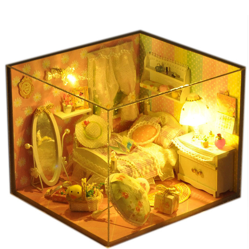 T-Yu TD10 Spring Language House DIY Dollhouse With Light Cover Miniature Model Gift Collection Decoration Kit Models Toys