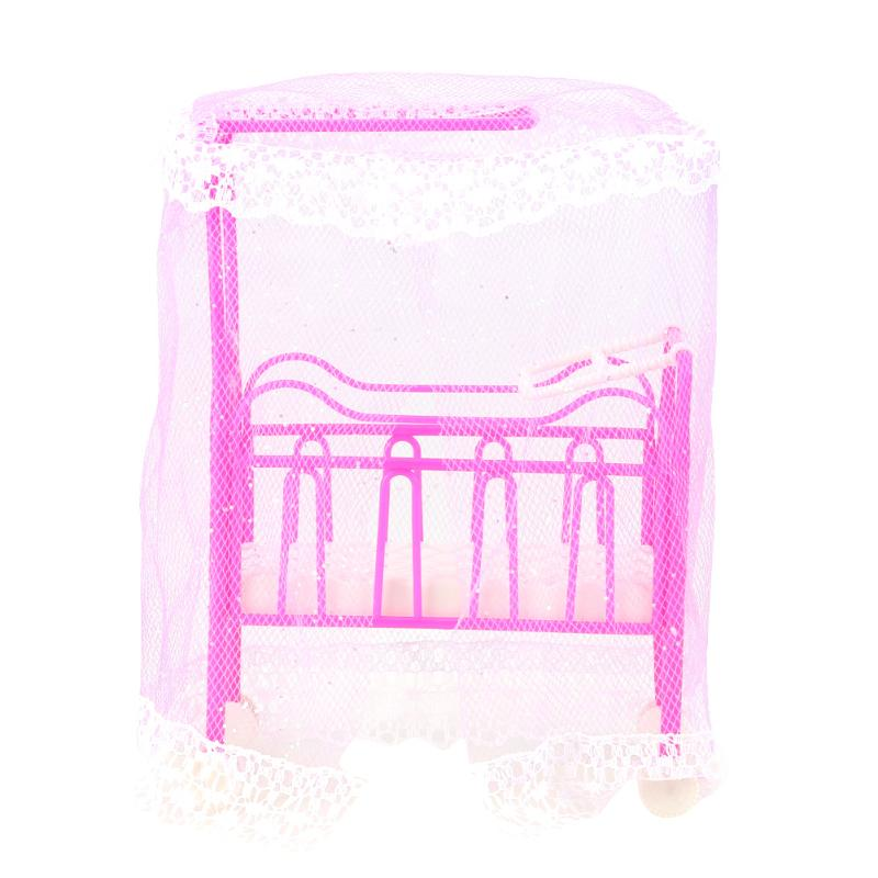 Plastic Cot Bed with Bed Net Doll Accessories Cute Bed Girls Dollhouse Furniture for Barbie Dolls Baby Toy Gift (Random Color)