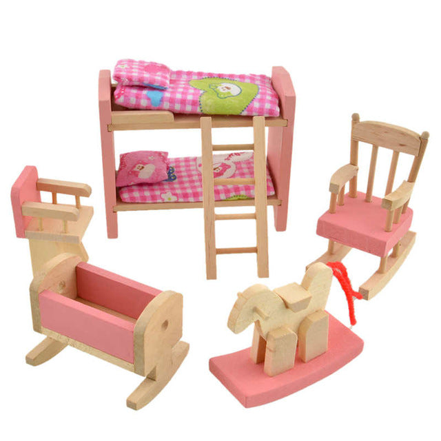 Pink Bathroom Furniture Bunk Bed House Furniture for Dolls Wood Miniature Furniture Wooden Toys for Children