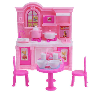 Simulation Dollhouse Kitchen Barbie Furniture Set Dining Table Cabinet for Barbie House Dolls Accessories