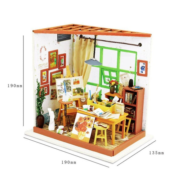 Robotime 3D Wooden Puzzle DIY Dollhouse Building Model Cover Miniature Handmade Educational Toy Woodcraft Gift For Children Hot