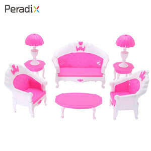 Plastic Doll Accessories Dollhouse Furniture Pretend Furniture Livingroom Parents-Kids Interaction 6pcs/Set Mini