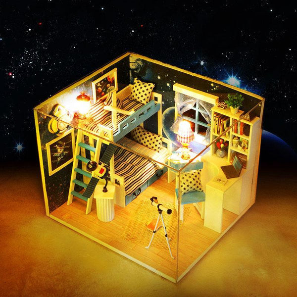 Space Dream Doll House Mini DIY Dollhouse Wooden Hut 3D Stereoscopic Miniature Assembly Model Toy Dollhouse for Children Gifts