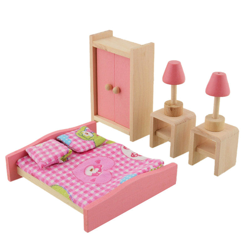 6pcs/set Wooden Dollhouse Bedroom Set