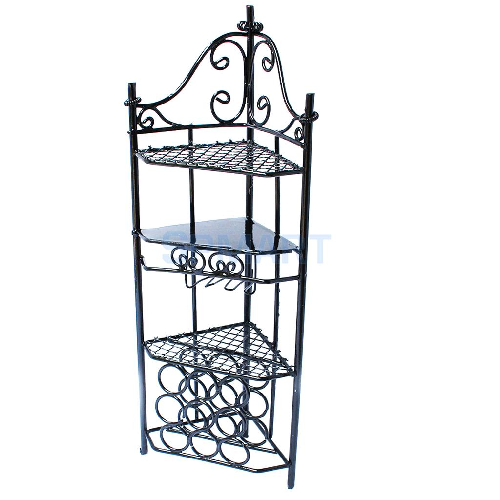 1/12 Black/White Metal Storage Shelf For Dollhouse