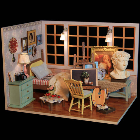 Miniature Beautiful Doll House Wooden Floor