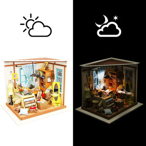 Tailor's Shop DG101 DIY Dollhouse Kit Gift With Furnitures Children Kids Intelligence Funny Miniature Doll House Set Adult Gift