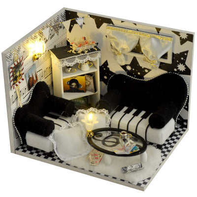 TW17 Music Notes DIY Dollhouse With Light Cover Miniature Model Gift Doll House Collection Decoration Intelligence Children Toy