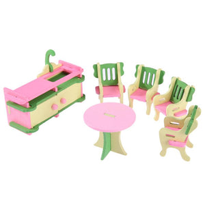 Wooden Mini Furniture Set Kids Pretend Play Toy   Dollhouse Furniture Furnitures Playing House Game Toy Gift for Children