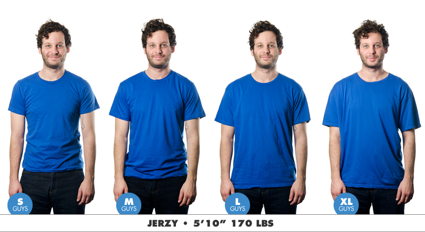 Mens Science Babbletees Sizing chart