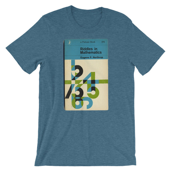 Math T-shirt Riddles in Mathematics Retro Book Cover Vintage Science Graphic Geek Tee Short-Sleeve Unisex T-Shirt blue babbletees