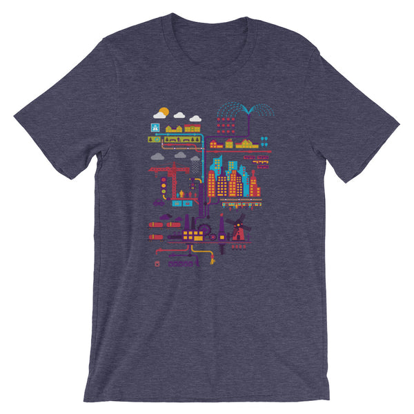 Industrial Ecology Infographic City Map Tshirt heather purple babbletees